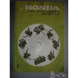 Part list pour carburateur Honda