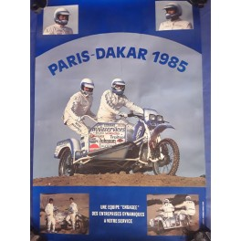 AFFICHE POSTER BMW PARIS - DAKAR 1985 SIDE CAR