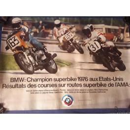 AFFICHE POSTER BMW CHAMPION SUPERBIKE 1976 USA